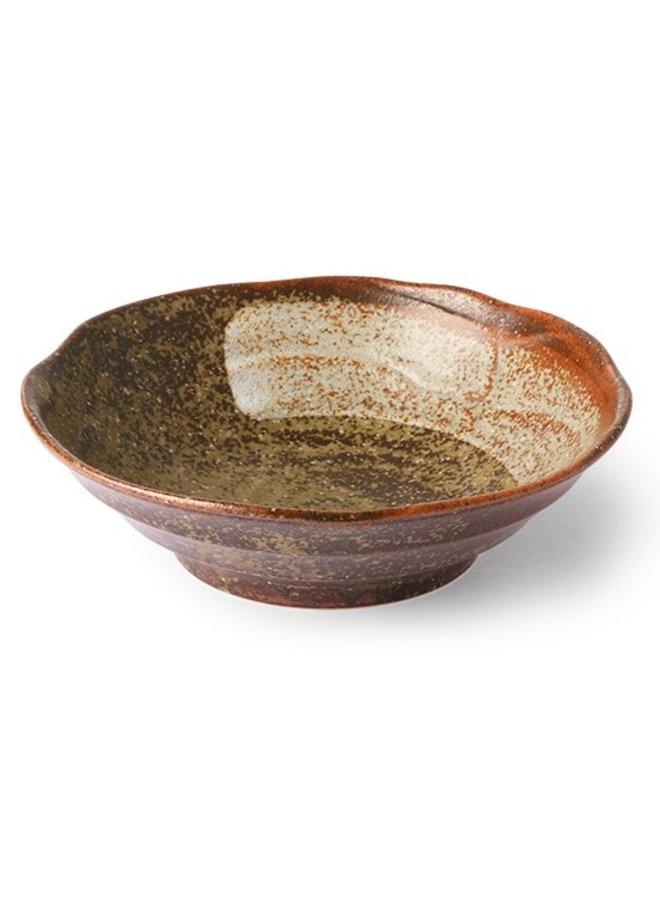 Kom kyoto ceramics japanese shallow bowl brown tones
