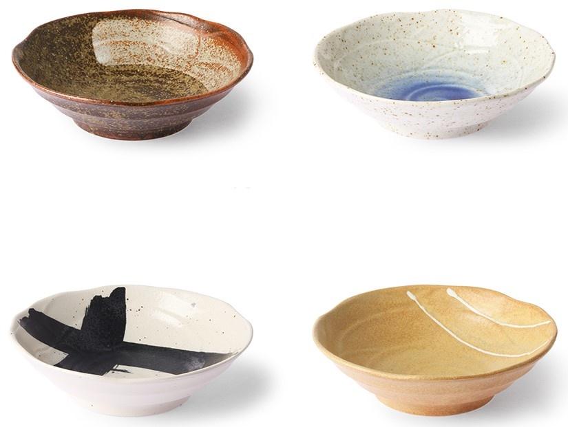 Kom kyoto ceramics japanese shallow bowl sand/white-2