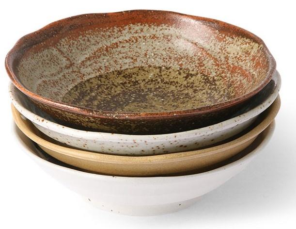 Kom kyoto ceramics japanese shallow bowl sand/white-3