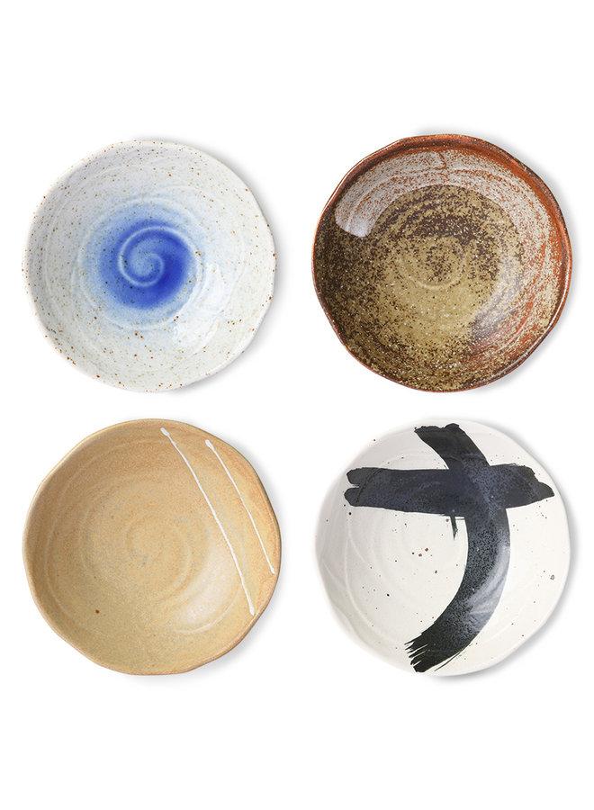 Kom kyoto ceramics japanese shallow bowl sand/white