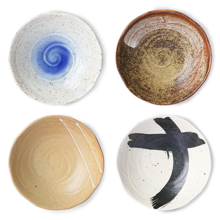 Kom kyoto ceramics japanese shallow bowl sand/white-4