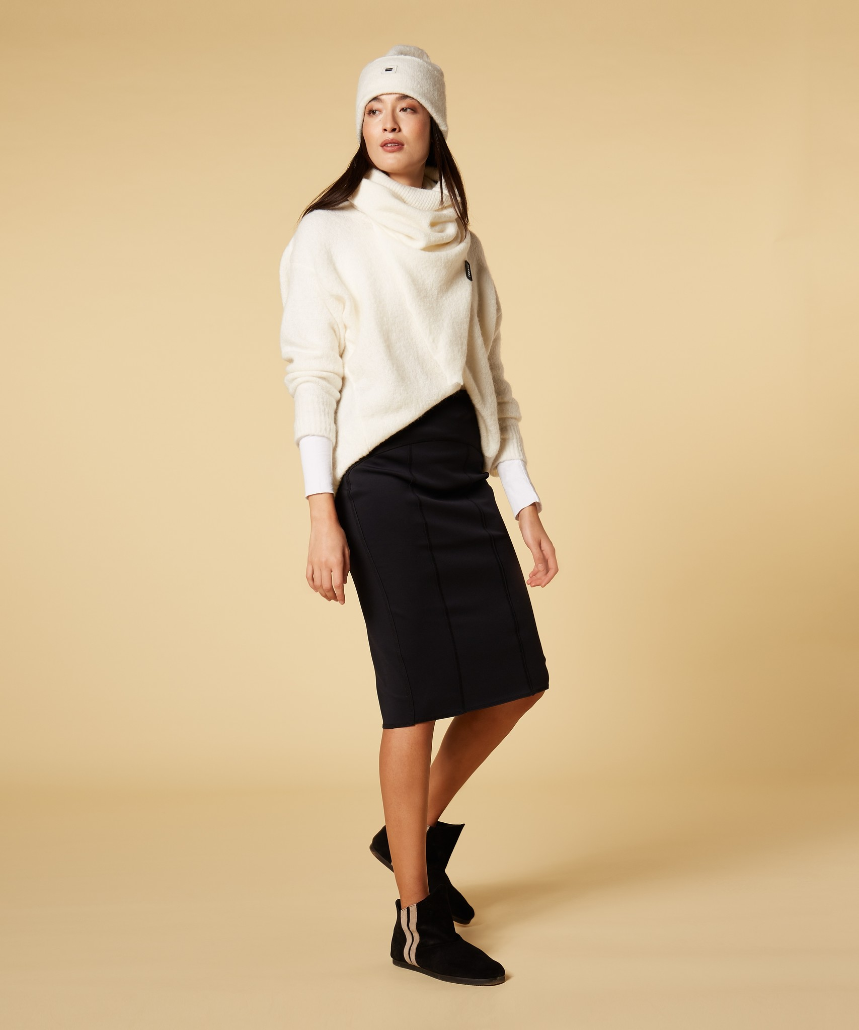 Rok scuba pencil skirt black-4