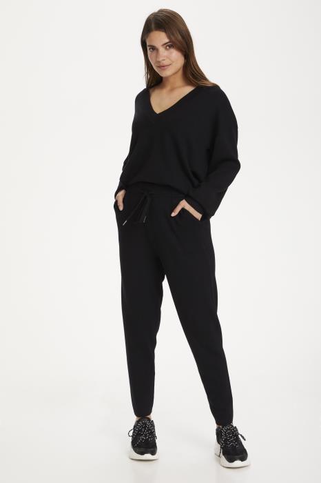 Broek KAkitlyn 7/8 knit pants black deep-5