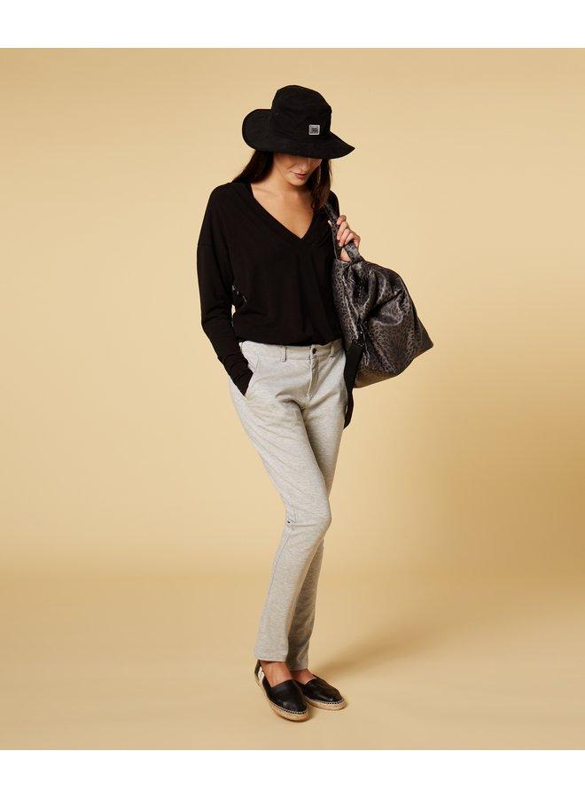Top soft v-neck tee black