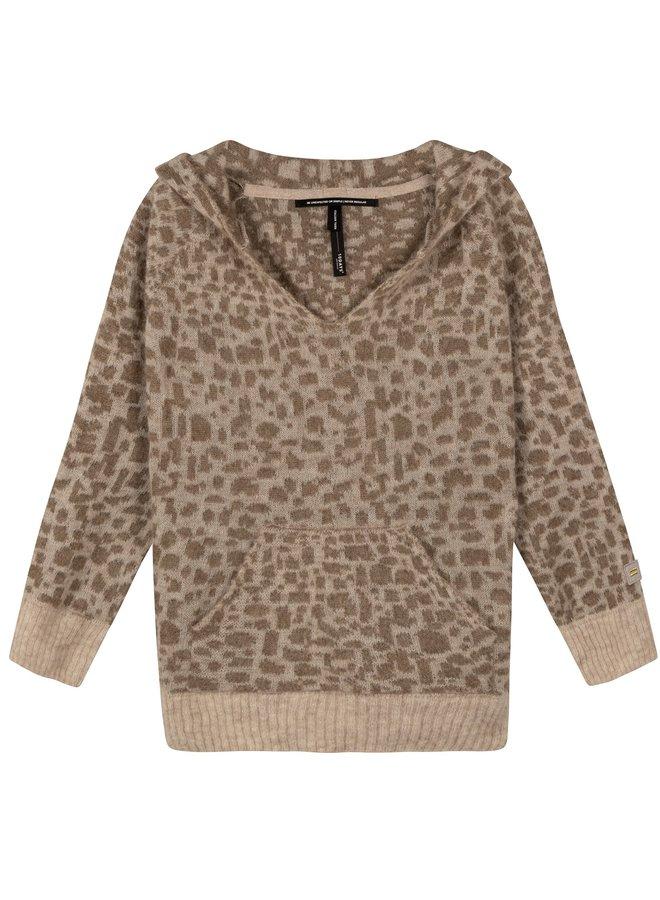 Trui Soft hoodie leopard caramel