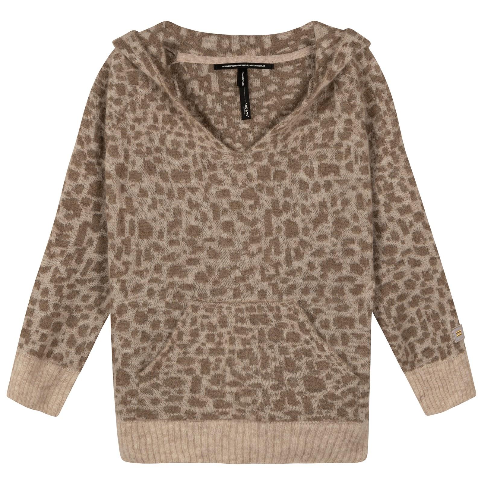 Trui Soft hoodie leopard caramel-1