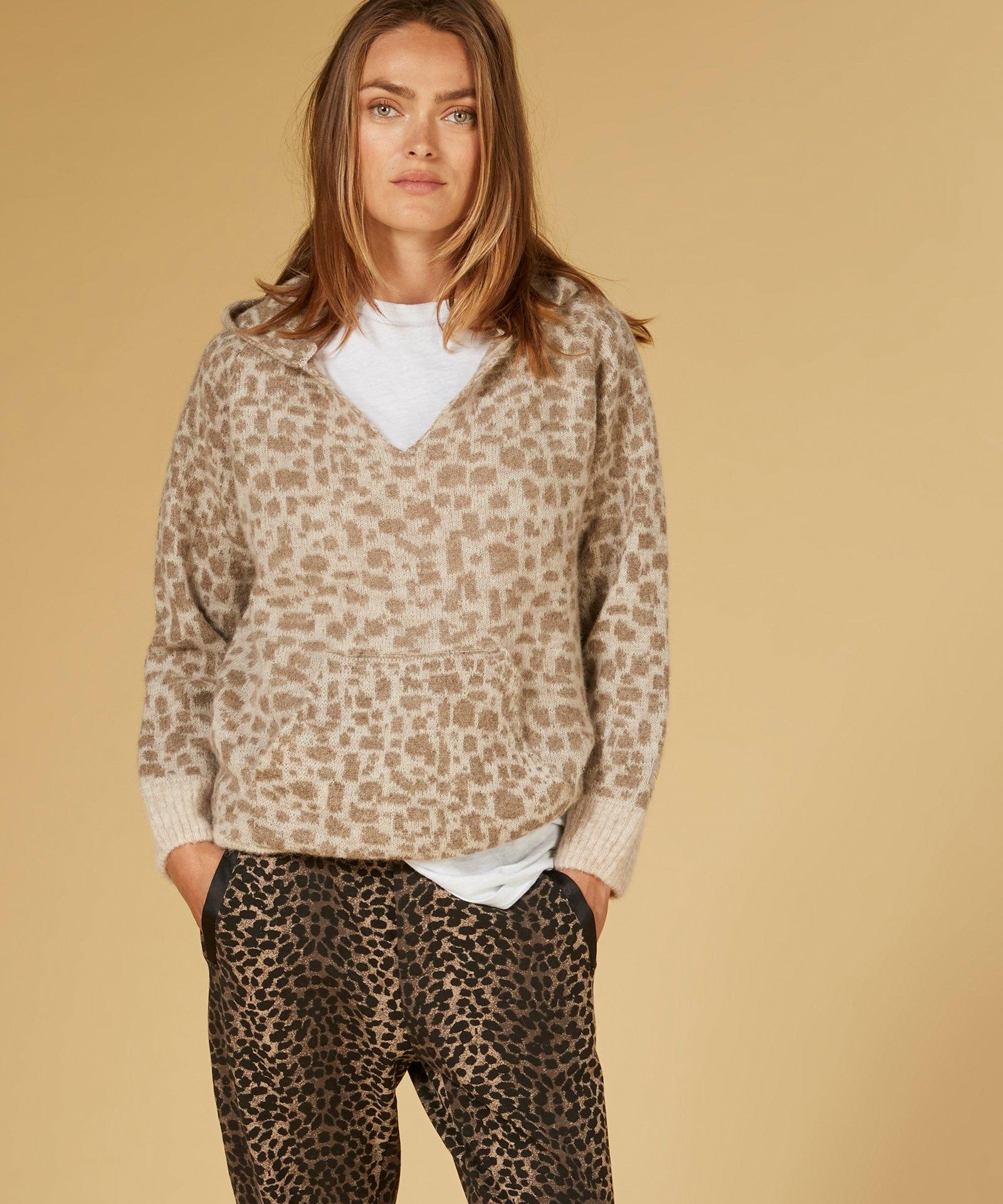 Trui Soft hoodie leopard caramel-2