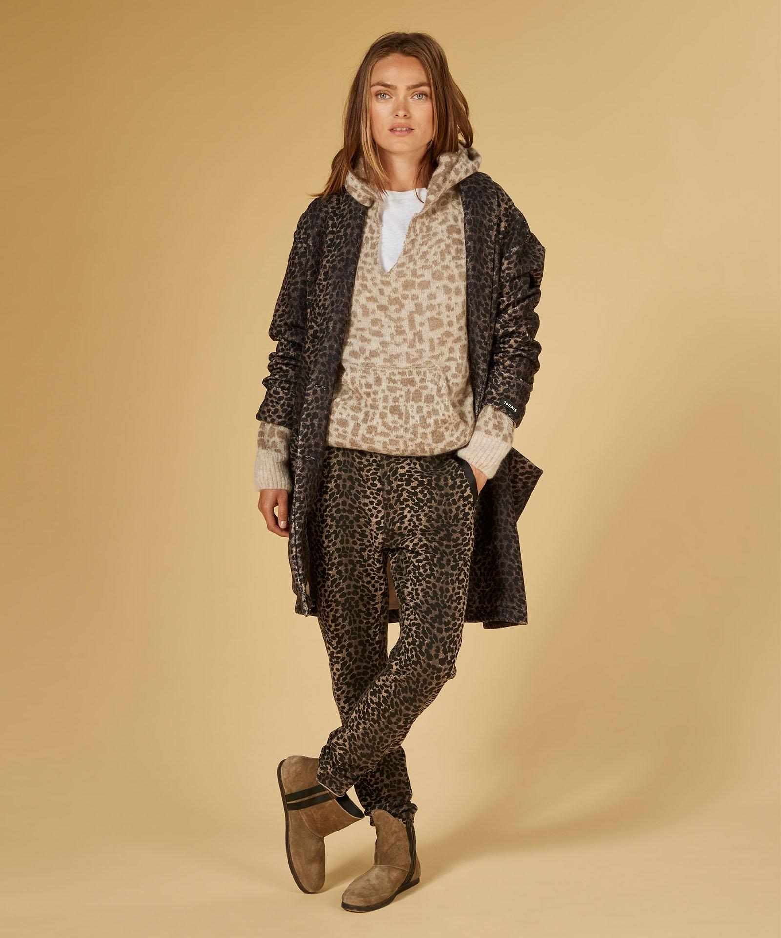 Trui Soft hoodie leopard caramel-4