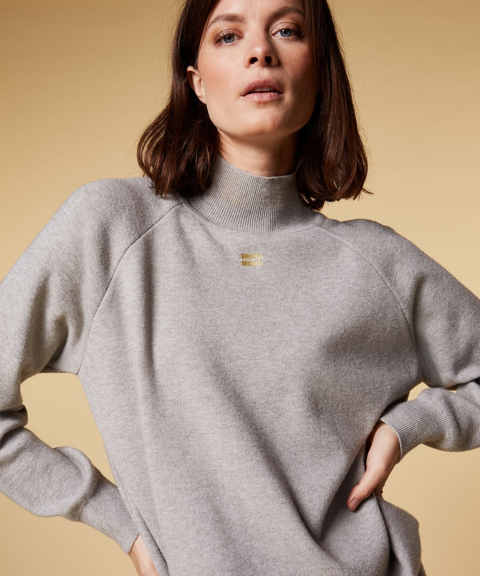 Trui knitted high neck sweater light grey melee-2