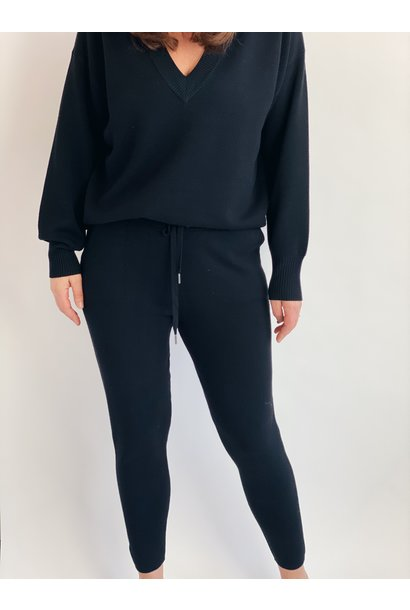 Broek KAkitlyn 7/8 knit pants black deep