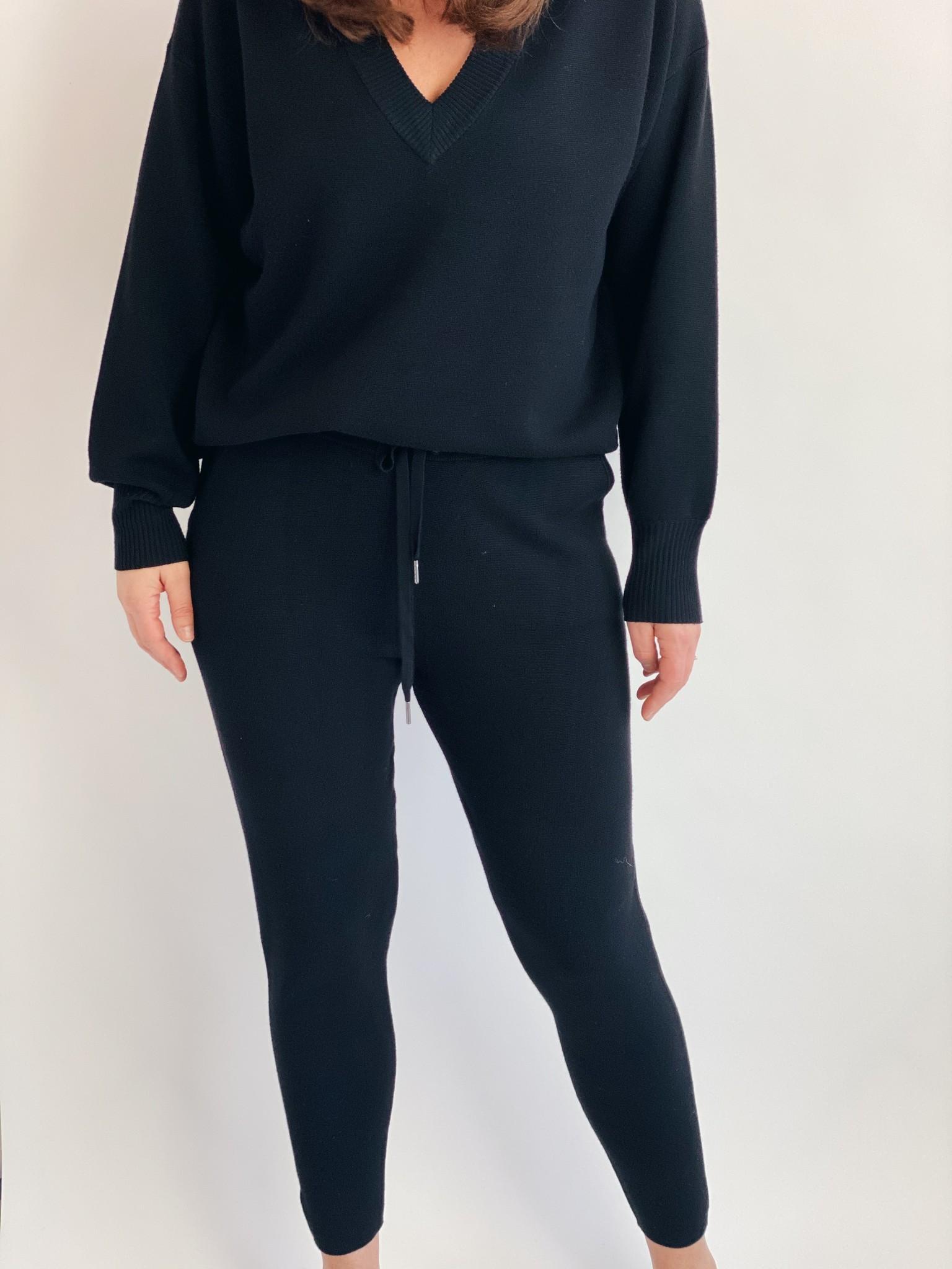 Broek KAkitlyn 7/8 knit pants black deep-1