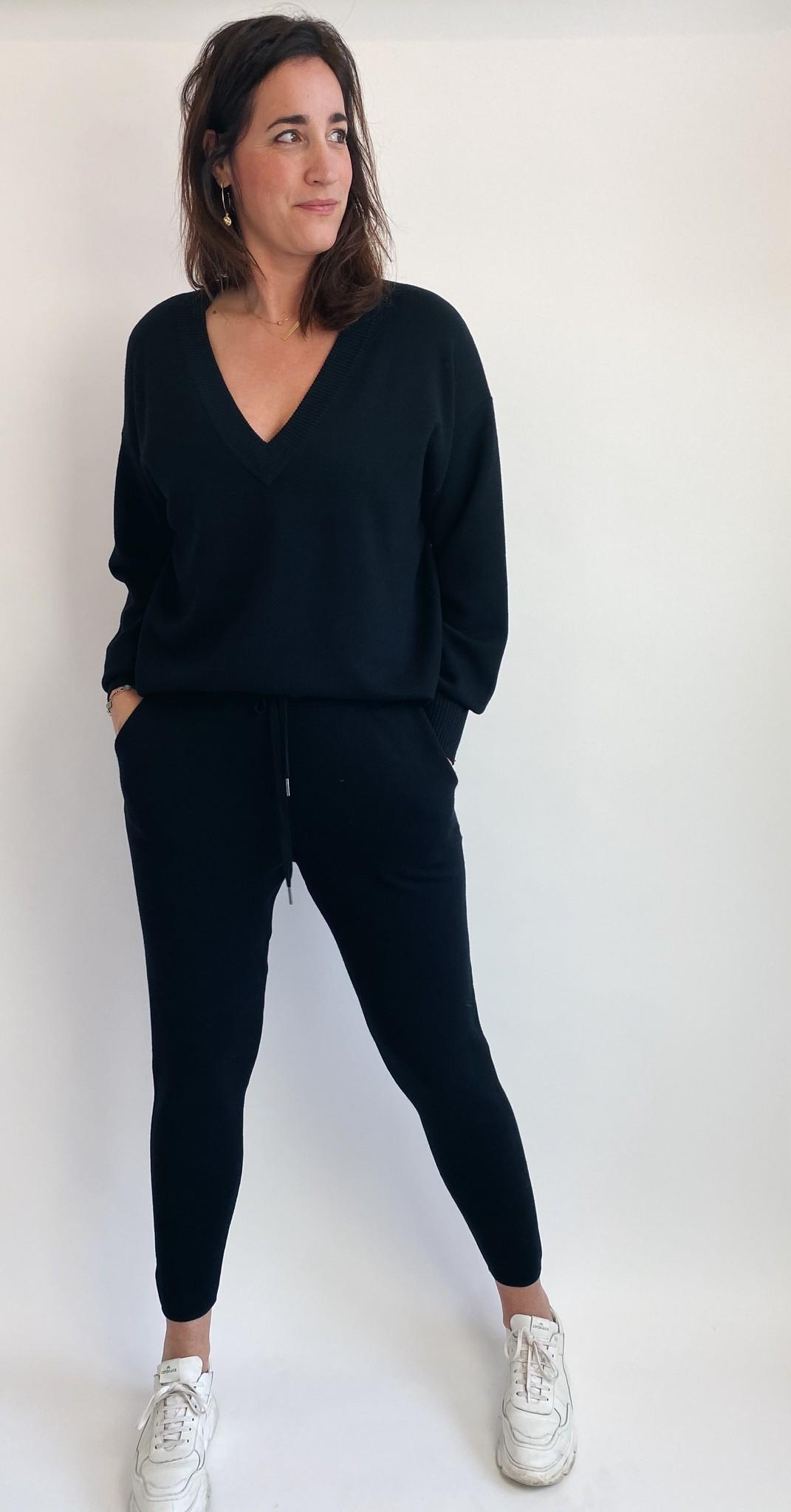 Broek KAkitlyn 7/8 knit pants black deep-3