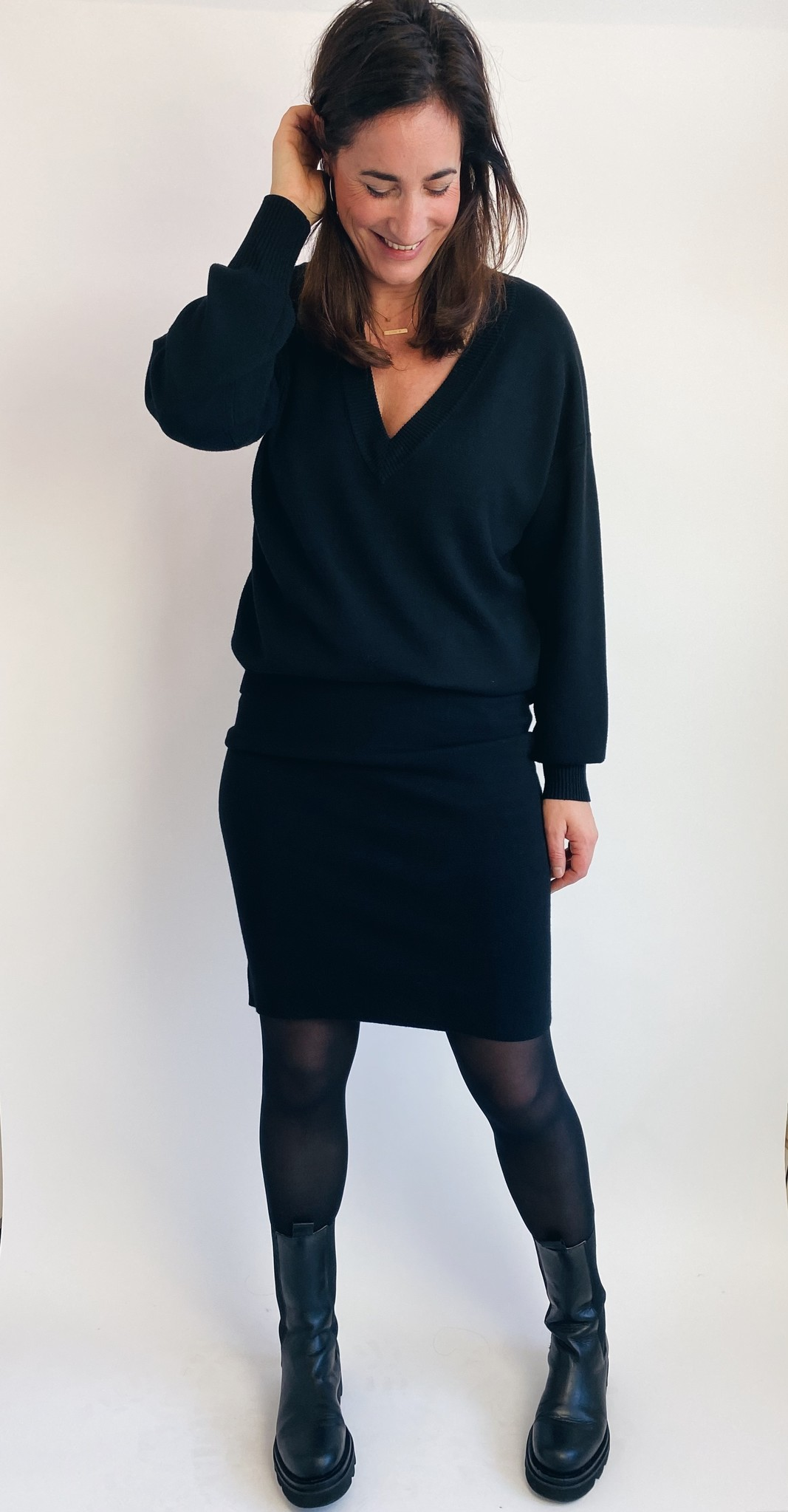 Rok KAkitlyn knit skirt black deep-4
