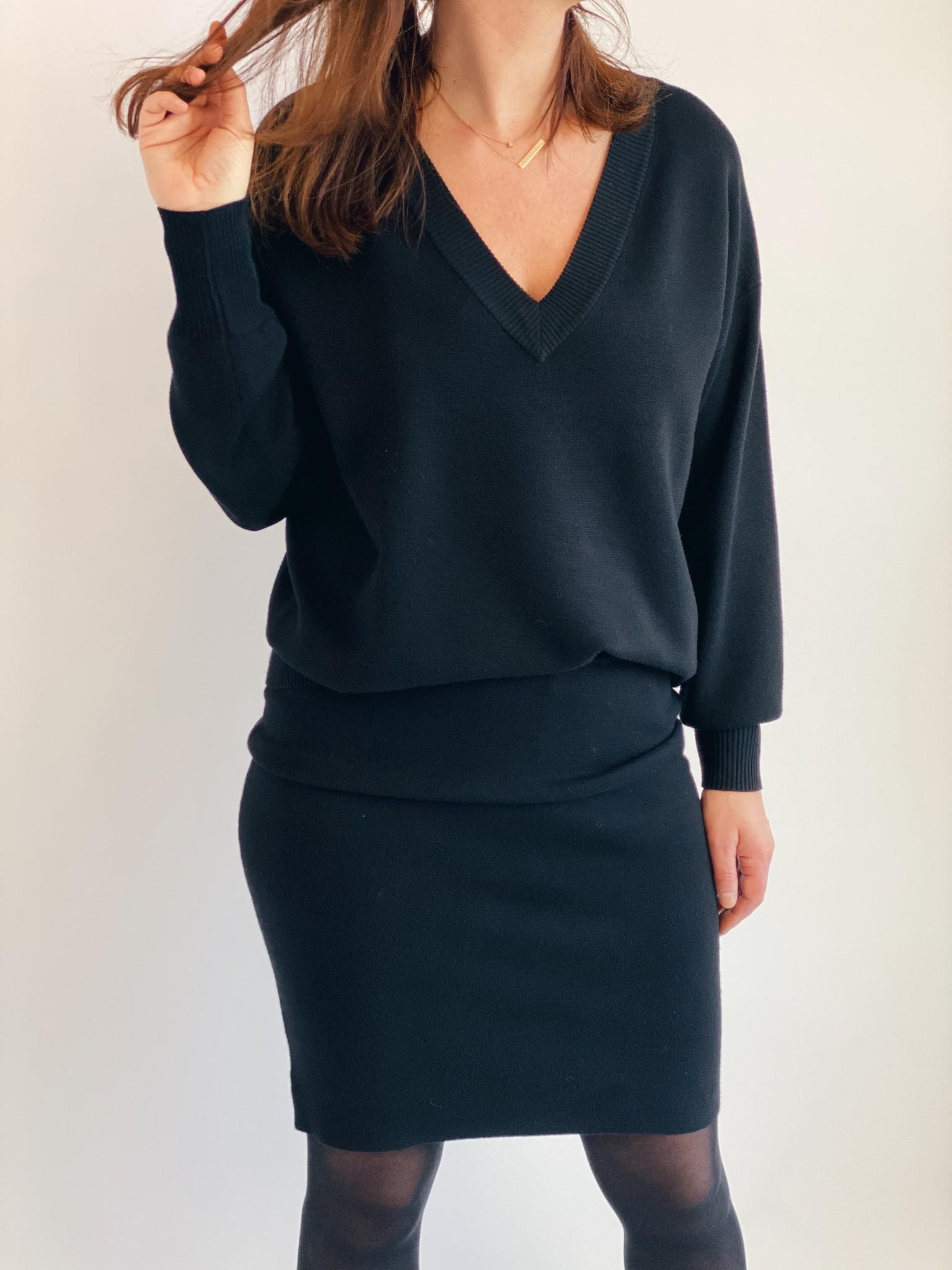 Rok KAkitlyn knit skirt black deep-2