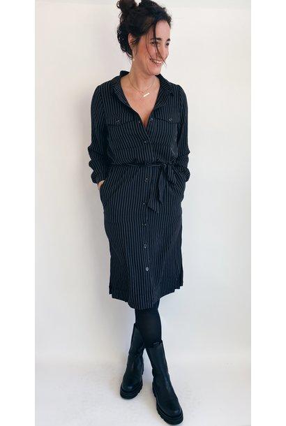 Jurk kagaye shirt dress black pinstripe