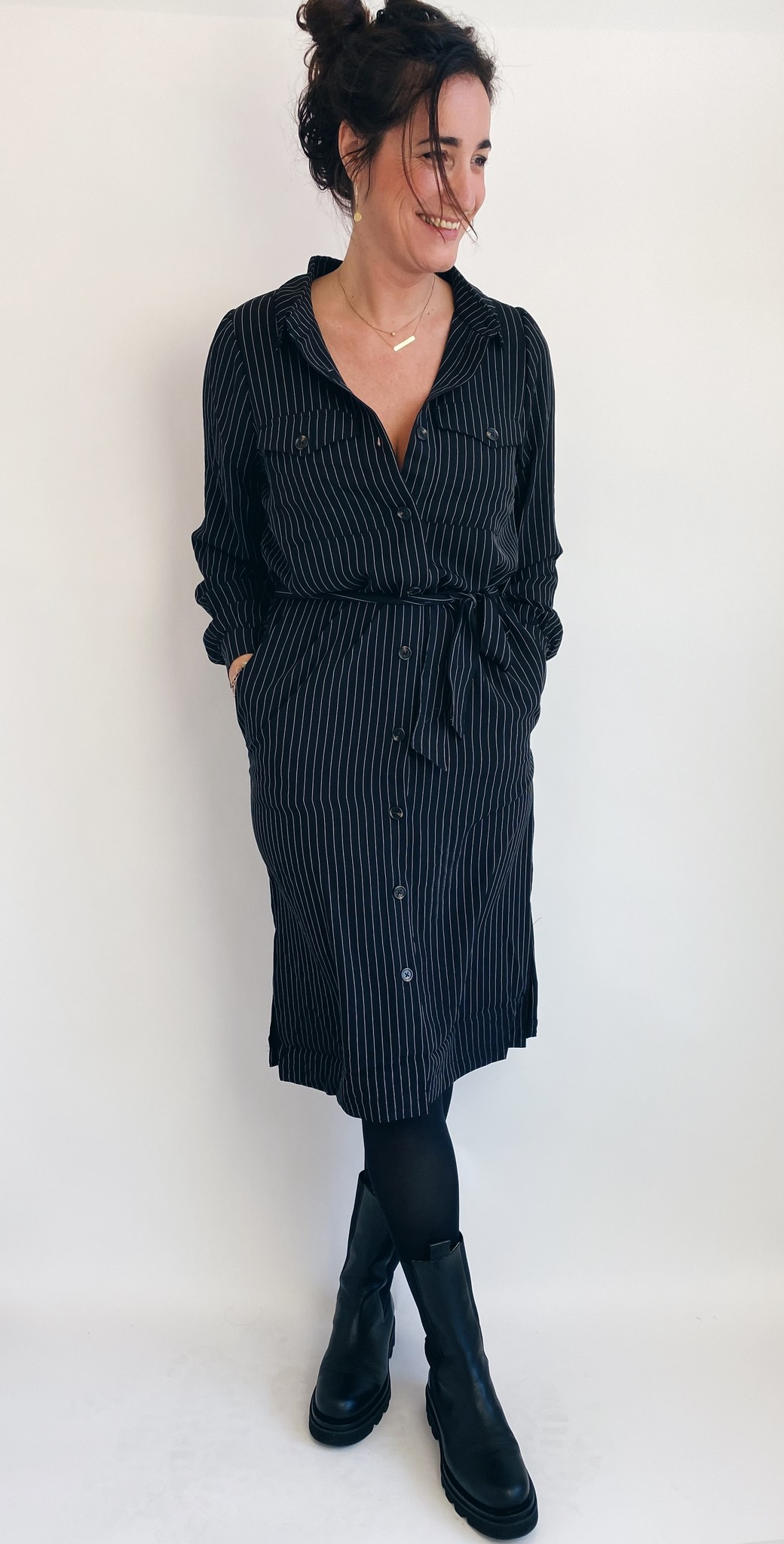 Jurk kagaye shirt dress black pinstripe-1