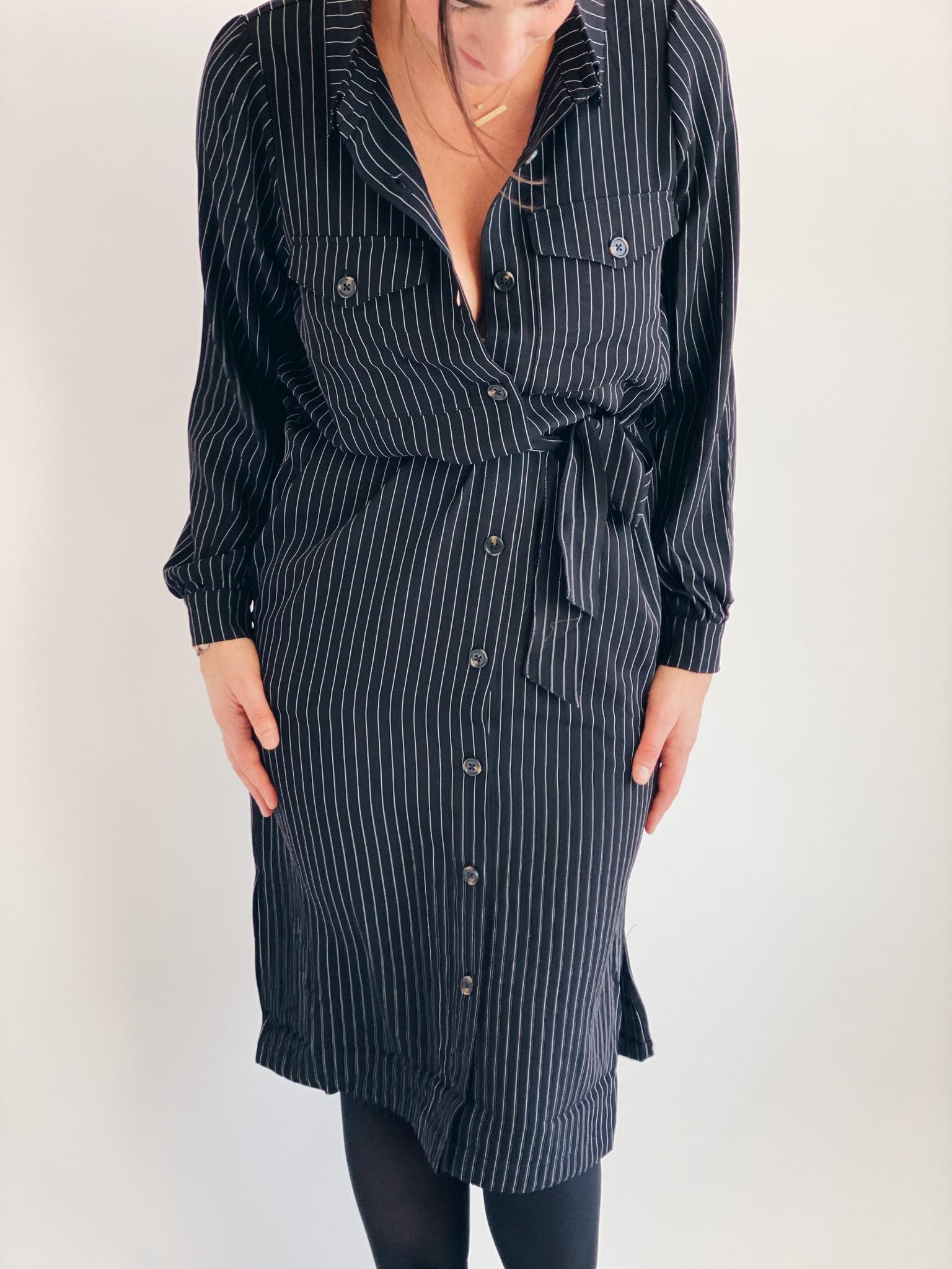 Jurk kagaye shirt dress black pinstripe-3