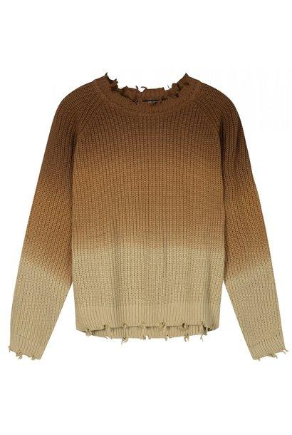 Trui sweater degrade dark caramel