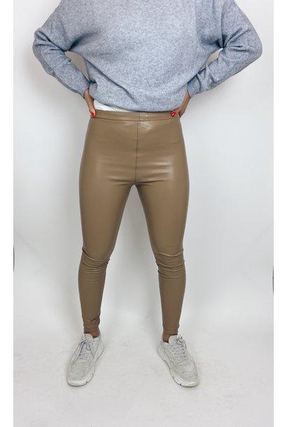Legging Pantalon leather look camel