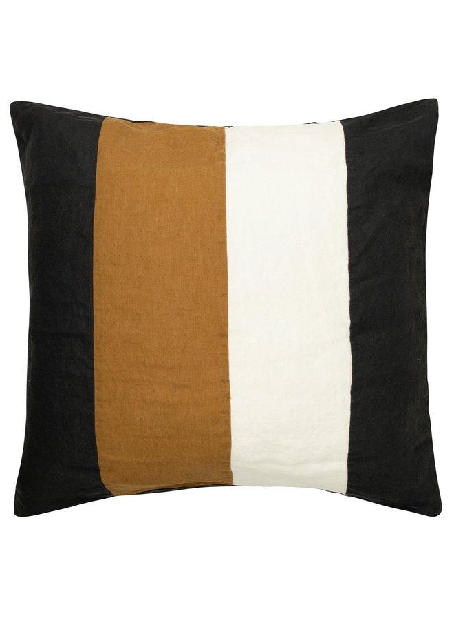 Kussenhoes Linen pillow square zwart