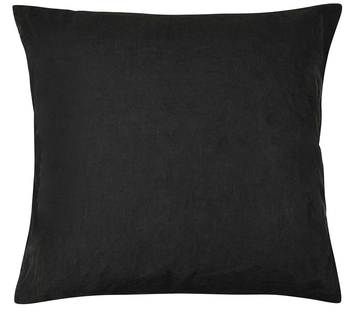 Kussenhoes Linen pillow square zwart-2