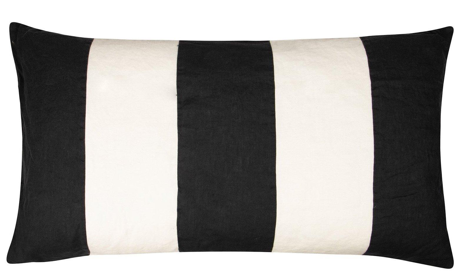 Kussenhoes Linen pillow long zwart-1