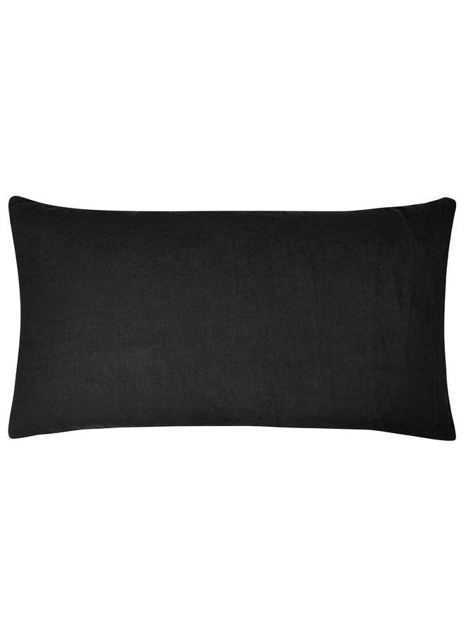 Kussenhoes Linen pillow long zwart