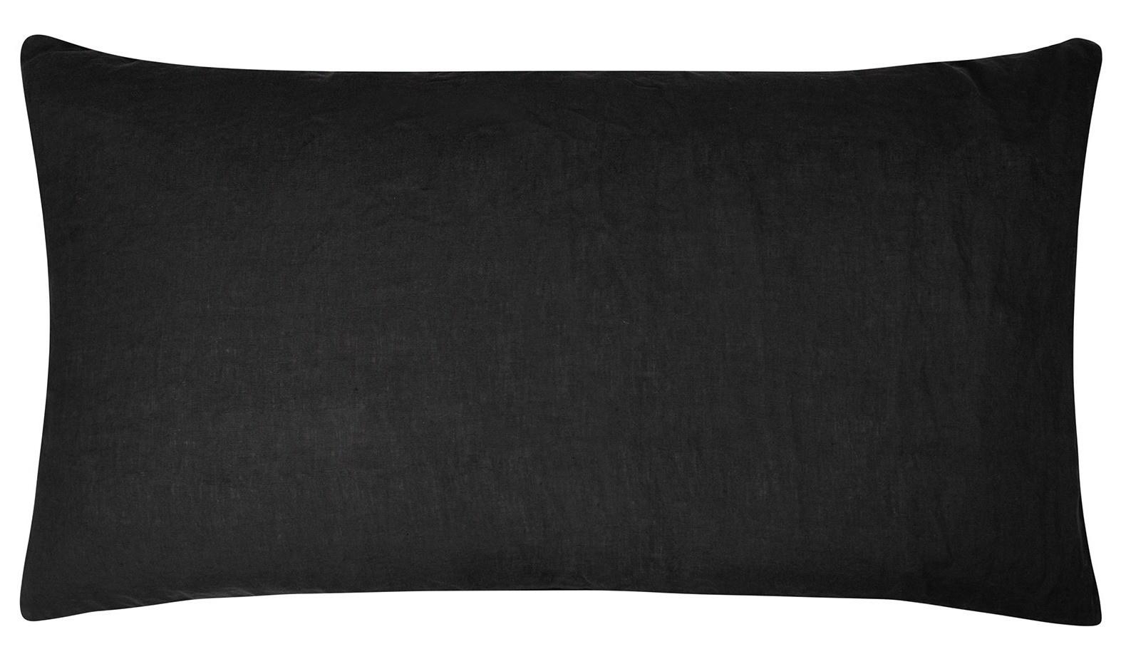 Kussenhoes Linen pillow long zwart-2