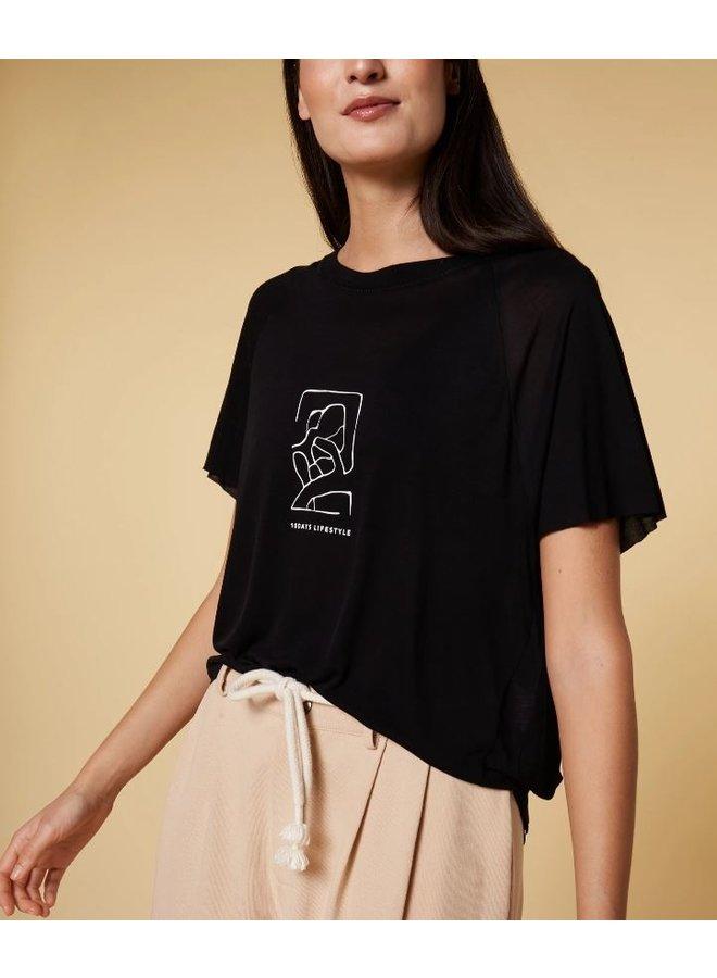 T-shirt shortsleeve tee sketch zwart