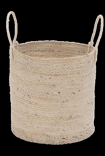 Mand storage basket with handle jute blond  Ø 40