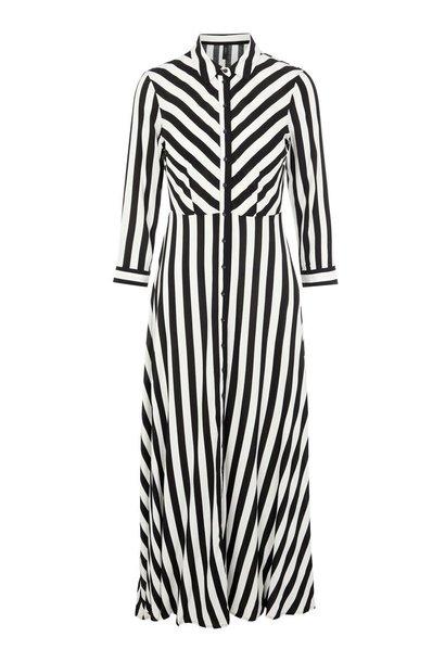 Jurk Yassavanna long shirt dress noos black stripes white