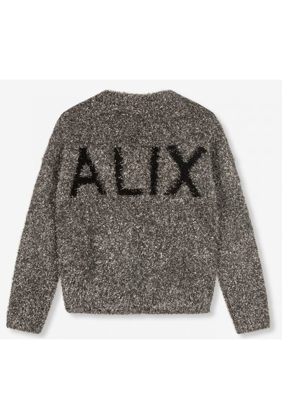 Trui knitted metallic hairy pullover