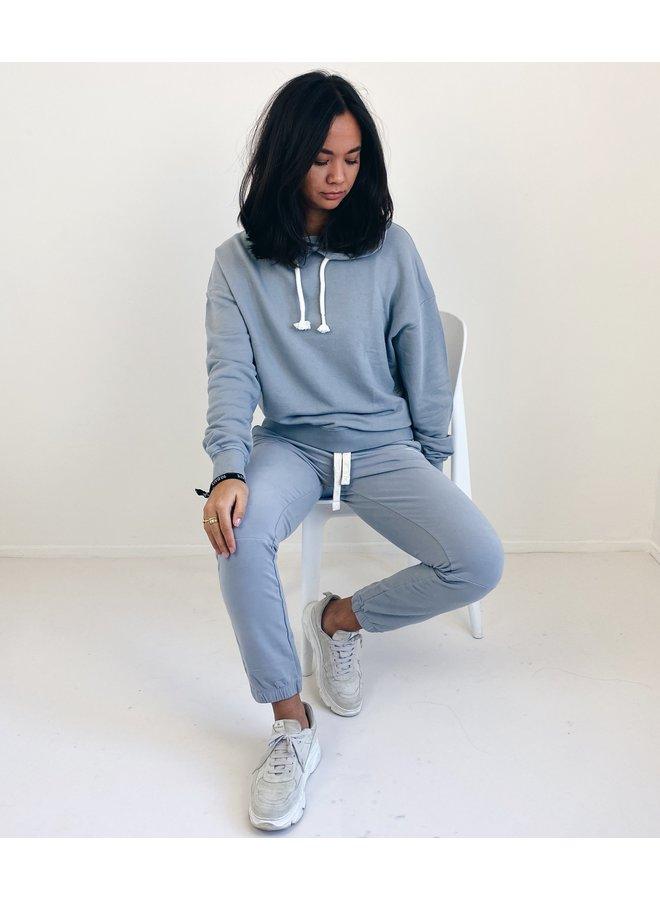 Trui oversized hoodie logo grey blue