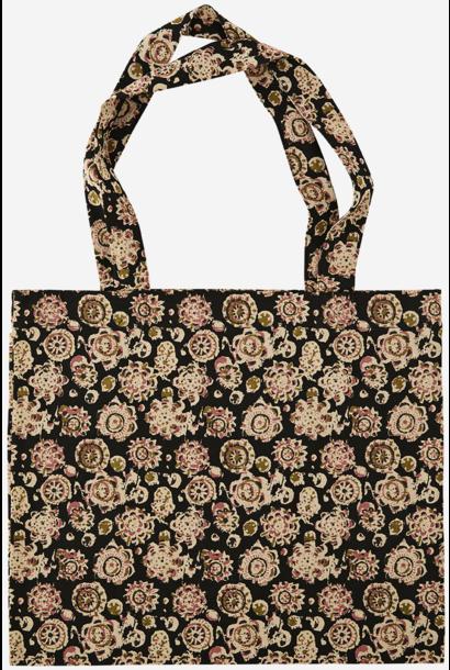 Tas Printed tote bag 47x40cm black, sand, olive, dusty rose