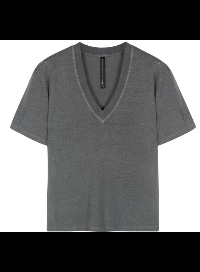 T-shirt Low v-neck tee linnen grey