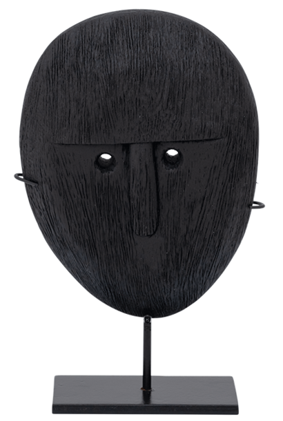 Object mango wood head on stand  20cm