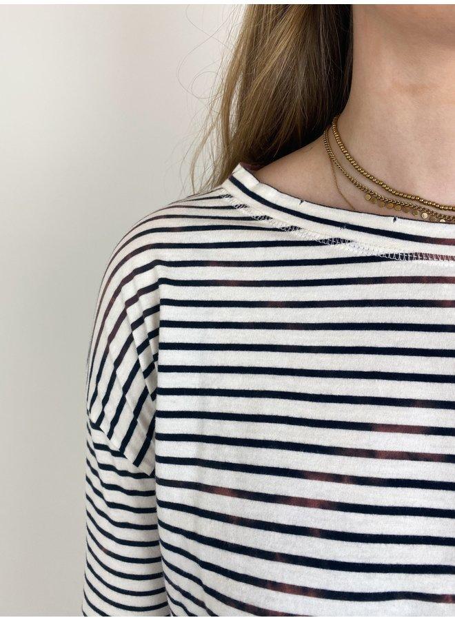 Top tee vintage stripes ecru