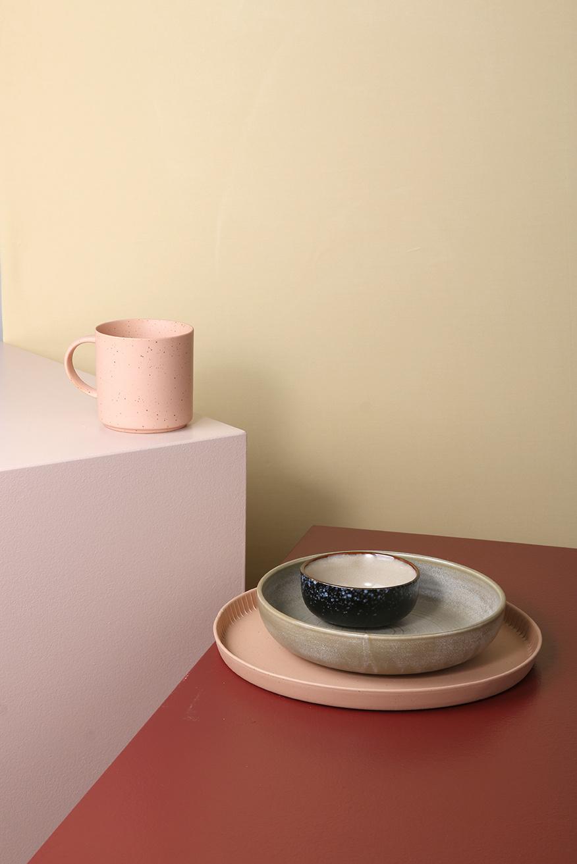 Bord home chef ceramics deep plate rustic green/grey-3