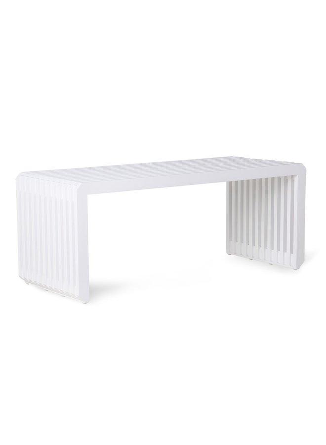 Bank slatted bench/element white