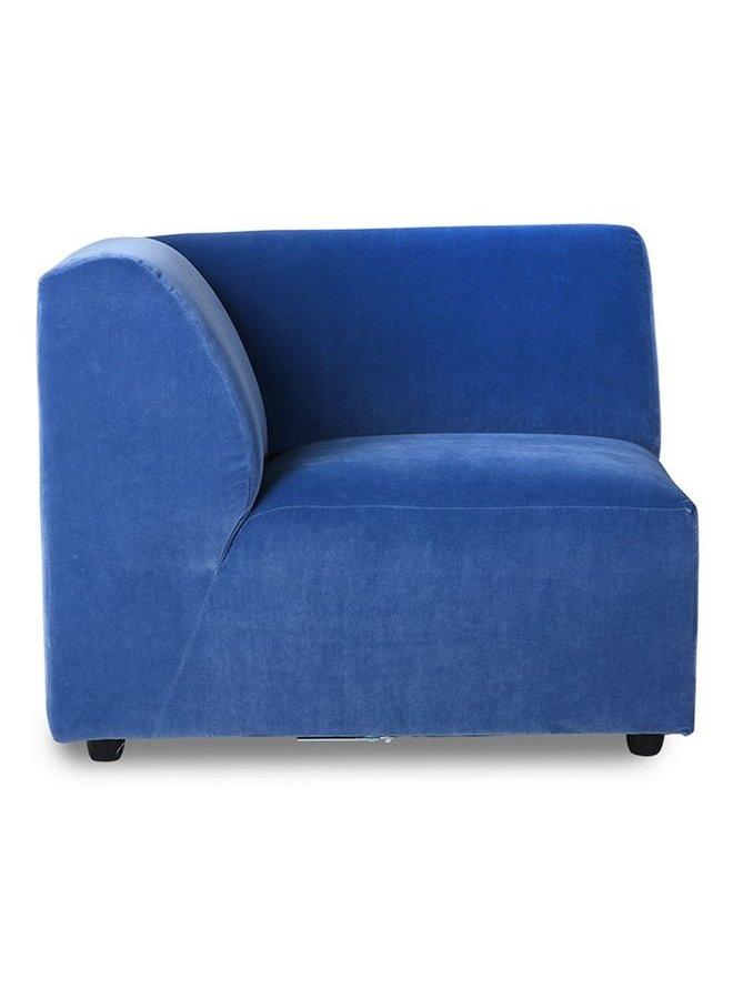 Bank jax couch: element left corner, royal velvet, blue