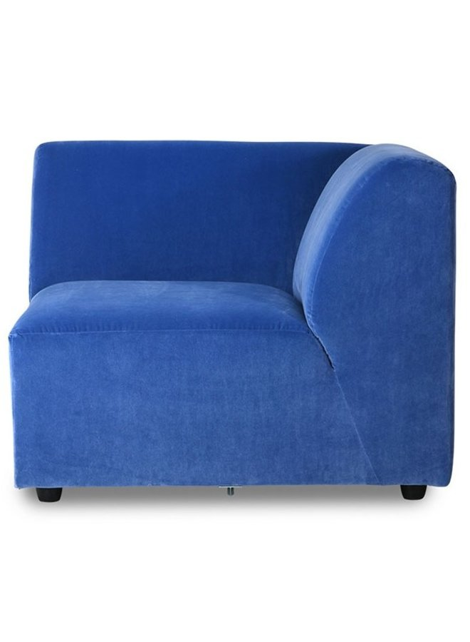 Bank jax couch: element right, royal velvet, blue