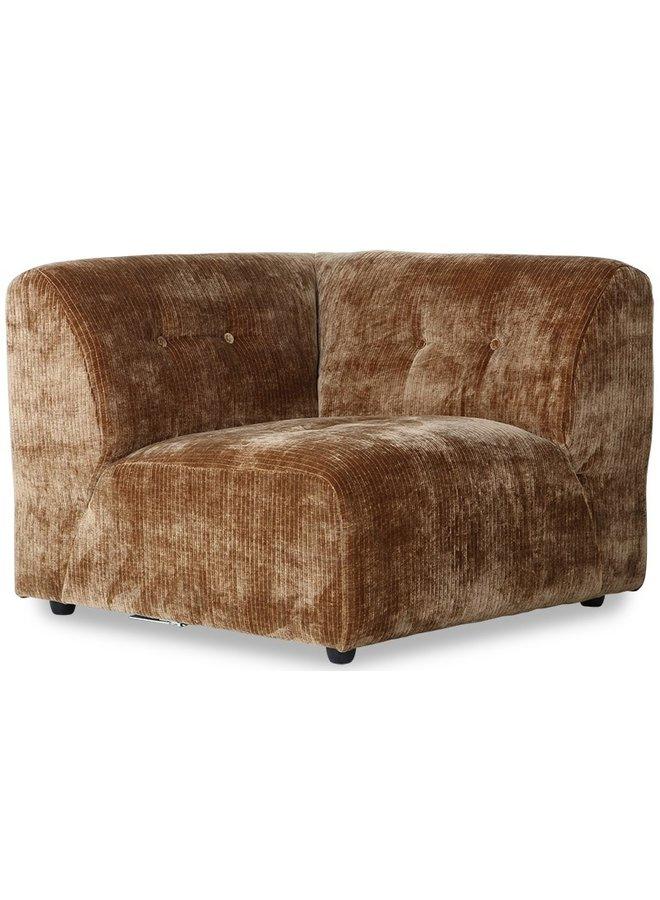 Bank vint couch: element right, corduroy velvet, aged gold