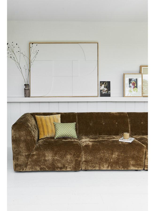 Bank vint couch: element middle, corduroy velvet, aged gold