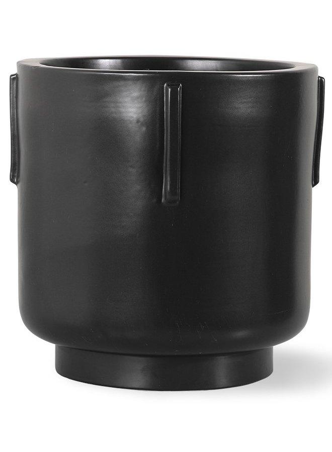 Bloempot footed pot earthenware black