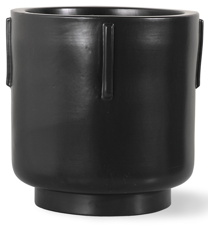 Bloempot footed pot earthenware black-1