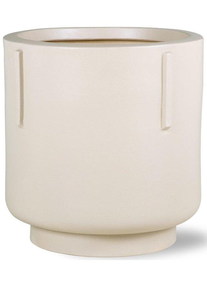 Bloempot footed pot earthenware cream
