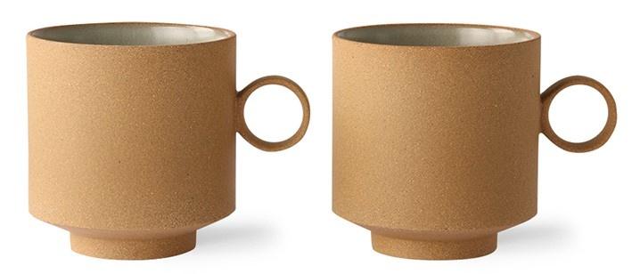 Mok bold & basic ceramics: coffee mug ochre (set of 2)-1