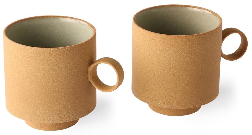 Mok bold & basic ceramics: coffee mug ochre (set of 2)-4