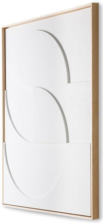 Wandschilderij framed relief art panel white d large-3