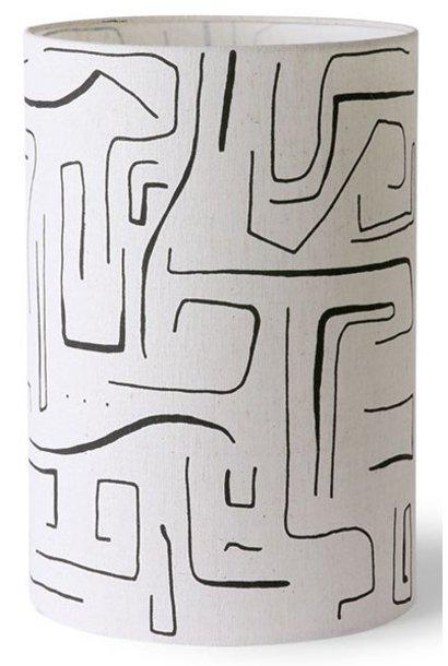 Lampenkap printed cilinder lamp shade black lines ø25